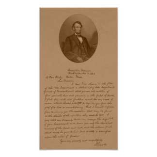 Abraham Lincoln's Letter To Mrs. Bixby Poster