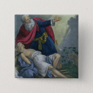Abraham Offering Up his Son Isaac, from a Bible pr 2 Inch Square Button