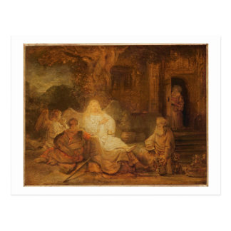 Abraham Receives the Three Angels, 1646 (oil on pa Postcard