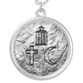 Abrahamic Faiths Silver Plated Necklace