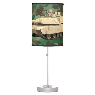 Abrams Tank on Camouflage Pattern Table Lamp