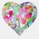 Abrégé sur aquarelle de jardin d'agrément de autocollant en cœur