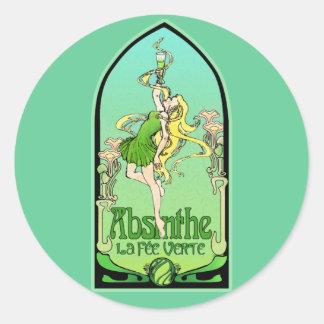 Absinthe Art Nouveau Classic Round Sticker
