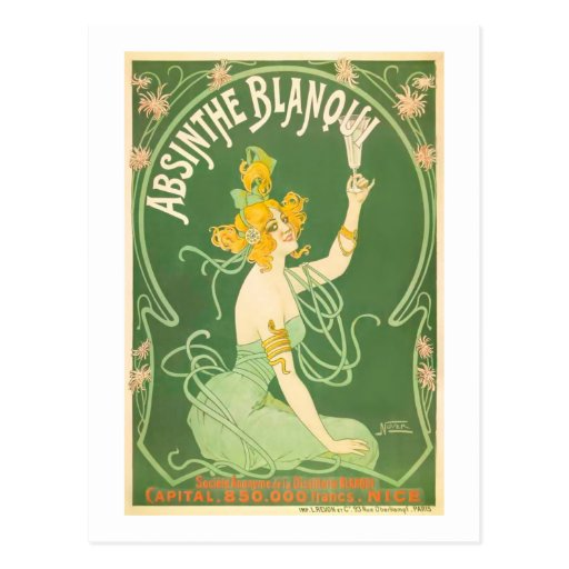Absinthe Blanqui Vintage Absinthe Art Postcard