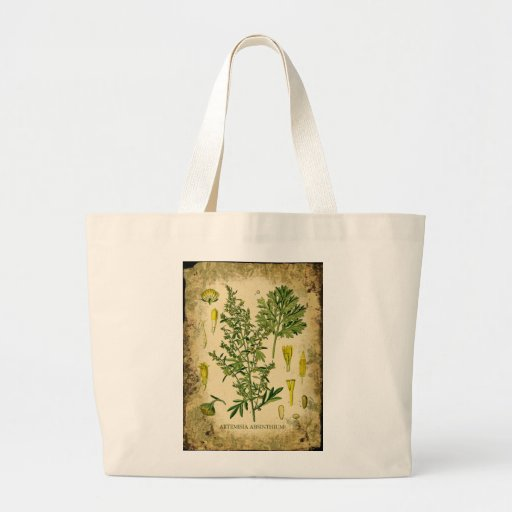 Absinthe Botanical Collage Jumbo Tote Bag
