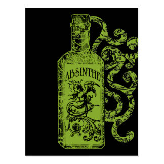 Absinthe Bottle Swirls Postcard