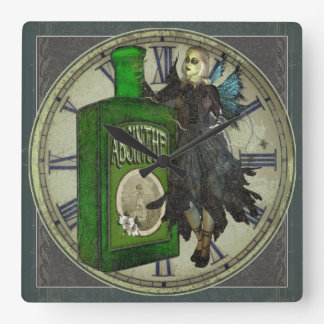 Absinthe Fairy - La Fée Verte - The Green Fairy Square Wall Clock