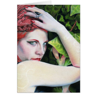 Absinthe green lady leaves greeting card