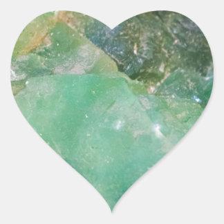 Absinthe Green Quartz Crystal Heart Sticker