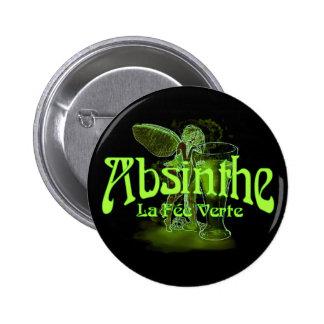 Absinthe La Fee Verte Fairy With Glass 2 Inch Round Button