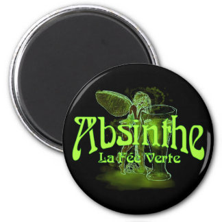 Absinthe La Fee Verte Fairy With Glass 2 Inch Round Magnet