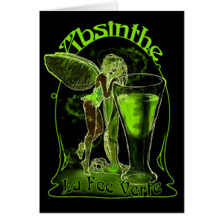 Absinthe La Fee Verte Fairy With Glass Greeting Card