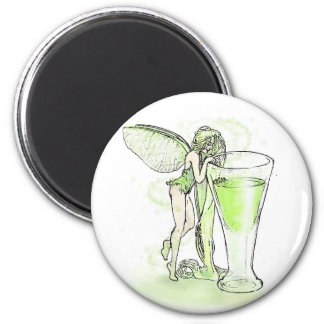Absinthe La Fee Verte Fairy With Glass (no text) 2 Inch Round Magnet
