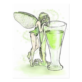 Absinthe La Fee Verte Fairy With Glass (no text) Postcard