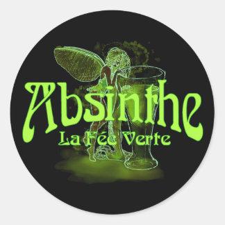 Absinthe La Fee Verte Fairy With Glass Round Sticker