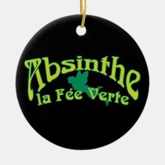 Absinthe Text La Fee Verte Round Ceramic Ornament