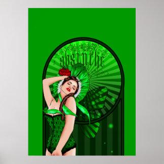 absinthe victorian green fairy poster