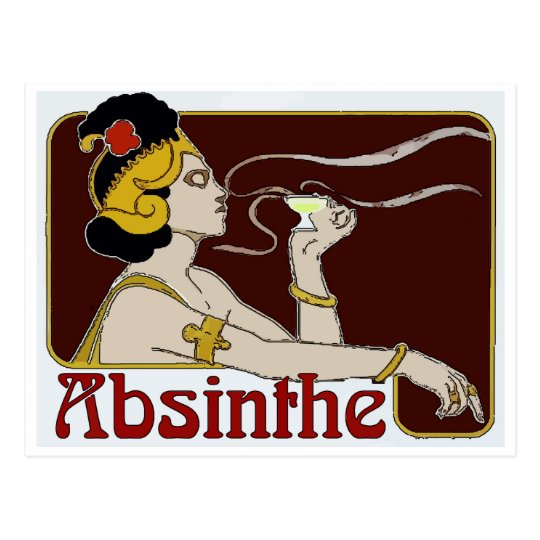 Absinthe, Woman Sipping Postcard