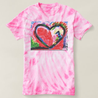 Abstact art heart tie dye t-shirt