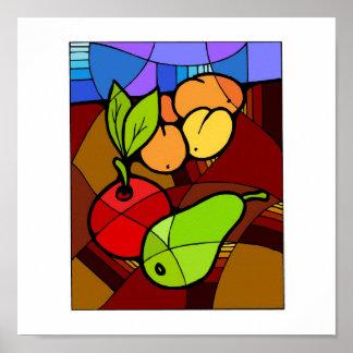 Abstact Fruit Kitchen Decor 15x15 Poster