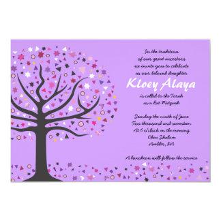 Abstact Tree of Life Bat Mitzvah Invitation Purple