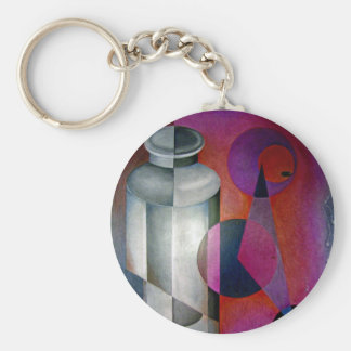 abstract 10 basic round button keychain
