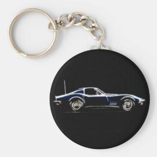 Abstract 1968 Chevrolet Corvette  Keych Basic Round Button Keychain