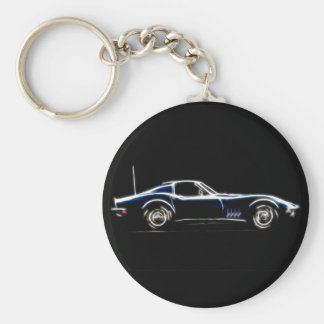 Abstract 1968 Chevrolet Corvette  Keych Basic Round Button Keychain