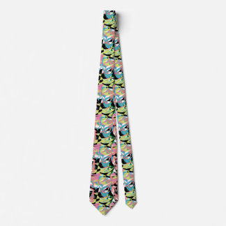 Abstract 1980s 80s Funky Cool Patterns Colorful Tie