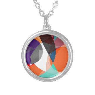 Abstract 2017 004 silver plated necklace