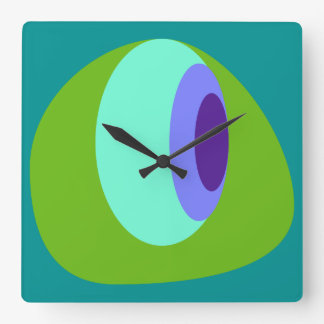 Abstract 2 Blue Green Purple Wall Clocks