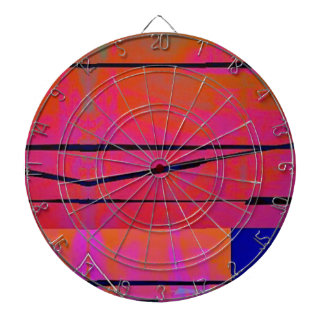 abstract 2 Linear Bold Orange Pink and Blue Dartboard