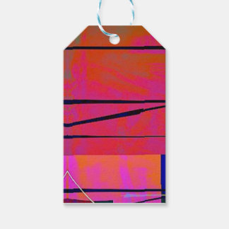 abstract 2 Linear Bold Orange Pink and Blue Gift Tags