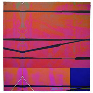 abstract 2 Linear Bold Orange Pink and Blue Napkin