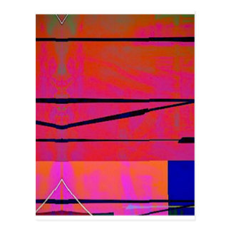 abstract 2 Linear Bold Orange Pink and Blue Postcard