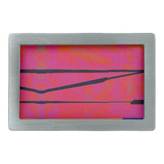 abstract 2 Linear Bold Orange Pink and Blue Rectangular Belt Buckle