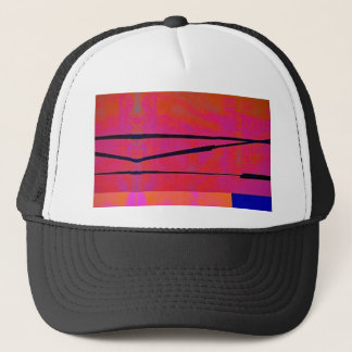 abstract 2 Linear Bold Orange Pink and Blue Trucker Hat