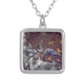 abstract 2 silver plated necklace