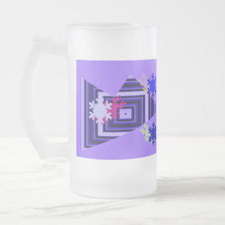 ABSTRACT 3 16 OZ FROSTED GLASS BEER MUG