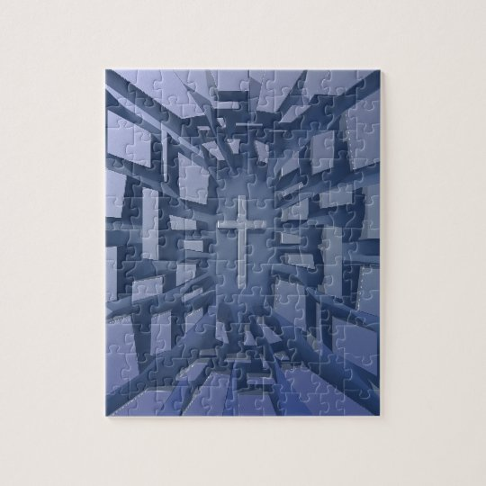 Abstract 3D Christian Cross Jigsaw Puzzle