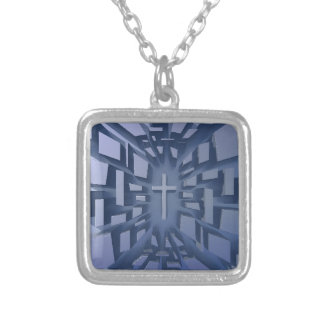 Abstract 3D Christian Cross Silver Plated Necklace