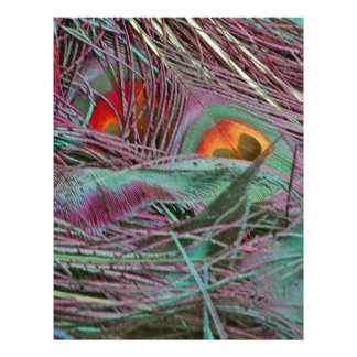 Abstract 70s Peafowl Custom Letterhead