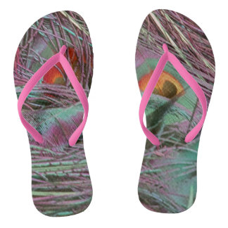 Abstract 70s Peafowl Flip Flops