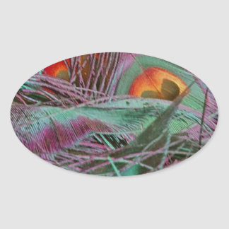 Abstract 70s Peafowl Oval Sticker