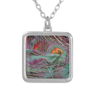 Abstract 70s Peafowl Silver Plated Necklace
