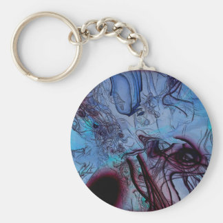 Abstract #96d basic round button keychain
