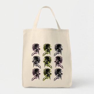 Abstract 9 flower pattern grocery tote bag