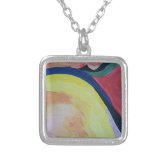 Abstract Acrylic Design 1 Silver Plated Necklace