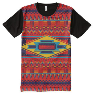 Abstract African Kente Cloth Pattern Red Yellow