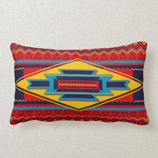 Abstract African Kente Cloth Pattern Red Yellow Lumbar Pillow